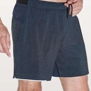 "Lululemon 5"" Surge Running Shorts Blue Mens Sz M"